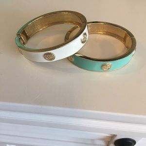 Loft Clasp Bangles - Set of 2 (mint & cream)